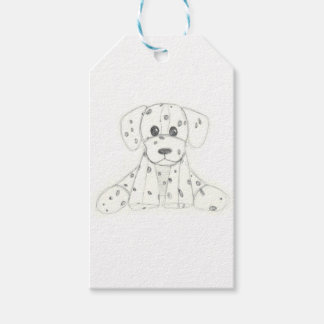 simple dog doodle kids black white dalmatian gift tags
