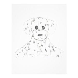 simple dog doodle kids black white dalmatian letterhead