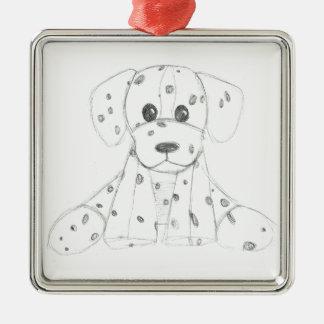 simple dog doodle kids black white dalmatian metal ornament