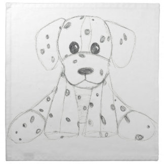 simple dog doodle kids black white dalmatian napkin