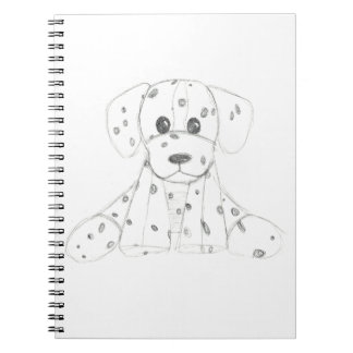 simple dog doodle kids black white dalmatian notebook