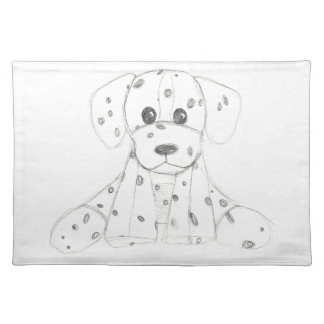 simple dog doodle kids black white dalmatian placemat
