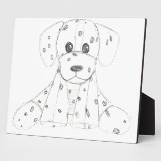 simple dog doodle kids black white dalmatian plaque