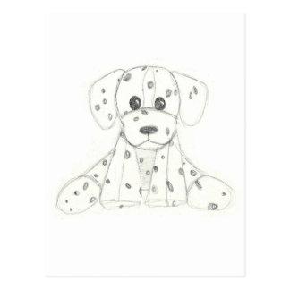 simple dog doodle kids black white dalmatian postcard