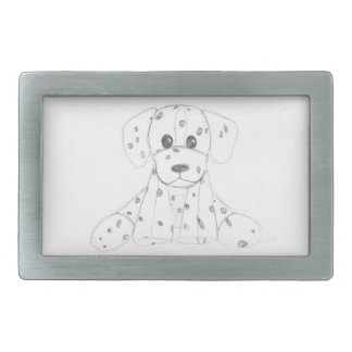 simple dog doodle kids black white dalmatian rectangular belt buckles