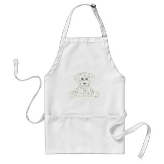 simple dog doodle kids black white dalmatian standard apron