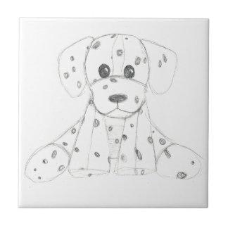 simple dog doodle kids black white dalmatian tile
