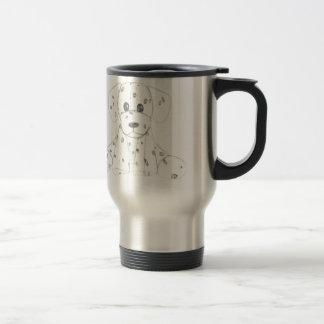 simple dog doodle kids black white dalmatian travel mug
