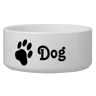 Simple Dog Paw Silhouette With Text Dog Pet Food Bowls