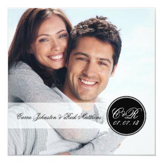 "Simple Double Initials Photo Wedding Square 5.25"" Square Invitation Card"