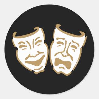 Simple Drama Masks Classic Round Sticker