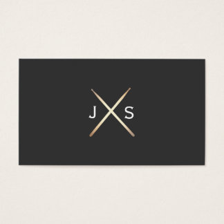 Simple Drummer Monogram Gold Drumsticks Business Card