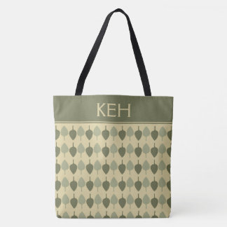 Simple Earth Green Leaves Monogram Tote Bag