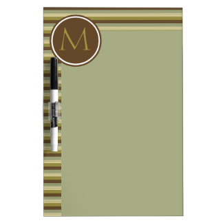 Simple Earth Rain Stripes Monogram Dry Erase Board
