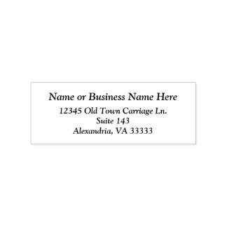 Simple  Easy To Read Custom Name Business Address Rubber Stamp