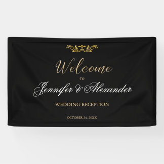 Simple editable black gold welcome wedding banner