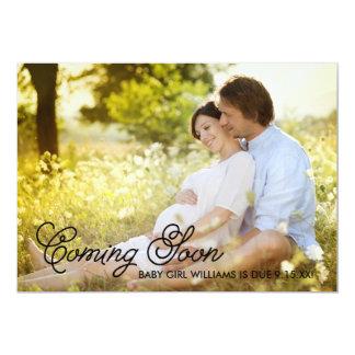 "Simple Elegance Coming Soon Pregnancy Announcement 5"" X 7"" Invitation Card"