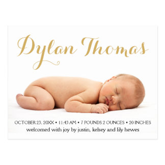 Simple Elegance Custom Photo Birth Announcements Postcard