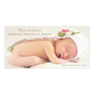 Simple Elegance Photo Birth Announcement Photo Card Template