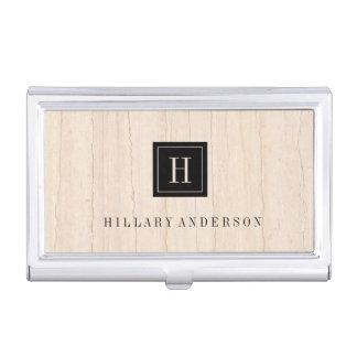 Simple Elegant Beige Marble Monogram Black Label Business Card Holder