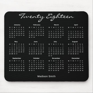 Simple Elegant Black 2018 Calendar Mouse Pad