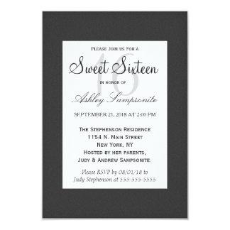 "Simple Elegant Black and White Design 3.5"" X 5"" Invitation Card"