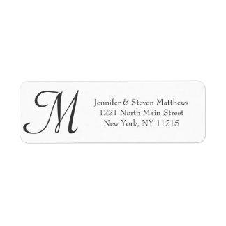 Simple Elegant Black and White Monogram Names Return Address Label