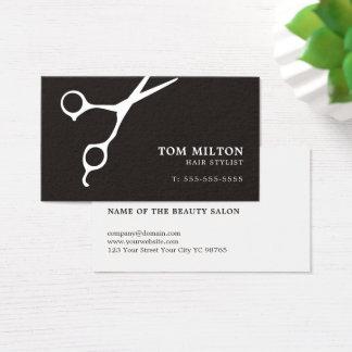 Simple Elegant Black White Scissor Hairdresser Business Card