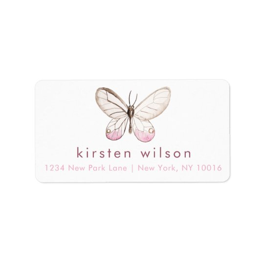 Simple & Elegant Blush Butterfly Address Labels