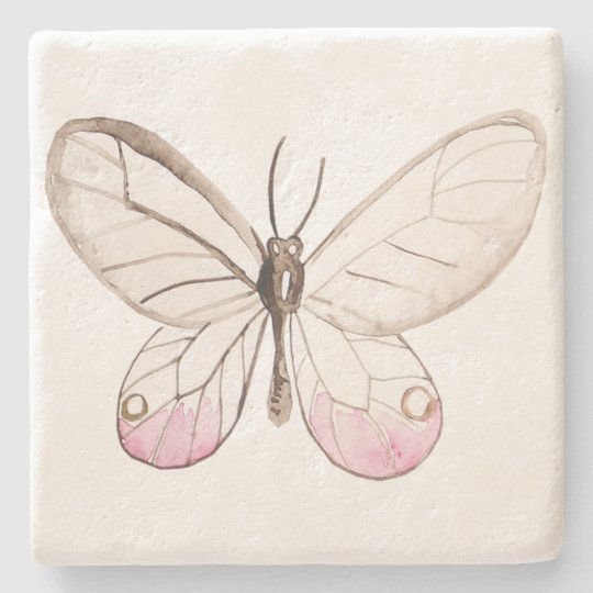 Simple & Elegant Blush Butterfly Limestone Coaster Stone Beverage Coaster