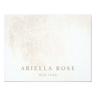 "Simple Elegant Brushed White Marble 4.25"" X 5.5"" Invitation Card"
