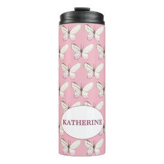Simple & Elegant Butterfly Pink Thermal Tumbler