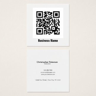 Simple elegant classic black and white QR Code Square Business Card