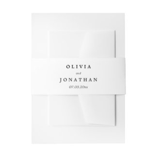 Simple Elegant | Classic Wedding Belly Band Invitation Belly Band