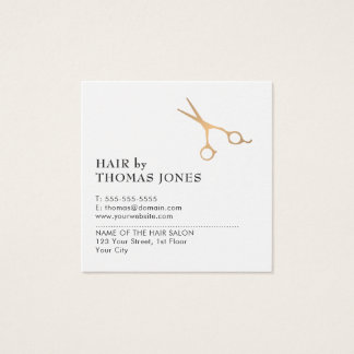 Simple Elegant Clean Faux Gold Scissor Hair Square Business Card