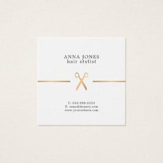 Simple Elegant Clean Gold Scissors Hairdresser Square Business Card