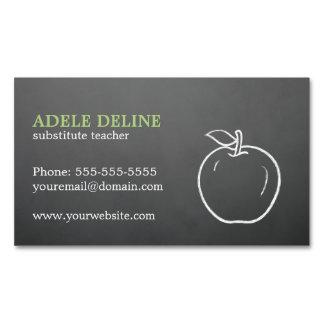 Simple Elegant Cool Texture Grey Apple Teacher Business Card Magnet