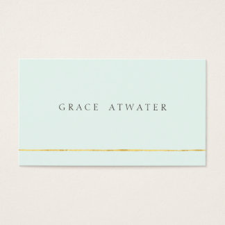 Simple Elegant Cosmetology, Spa, Gold & Light Blue Business Card