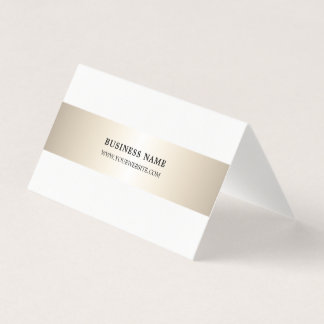 Simple Elegant Faux Metal Stripe Folded Business Business Card