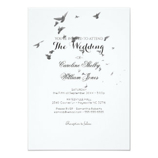 Simple Elegant Flock of Doves Wedding Invitation