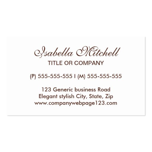 Simple elegant generic business or profile card business card