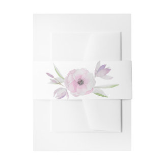 Simple elegant gentle modern drawn floral wreath invitation belly band