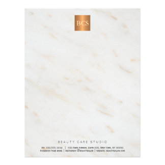 Simple elegant glam marble copper monogrammed letterhead