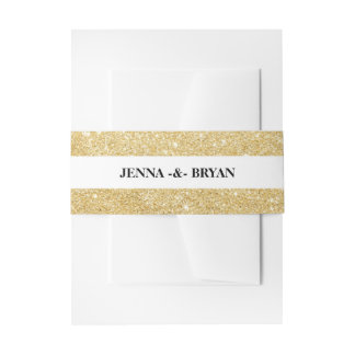 Simple Elegant Glitter Gold & White Personalized Invitation Belly Band