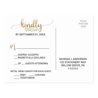 Simple Elegant Gold Calligraphy Menu Choice RSVP Postcard
