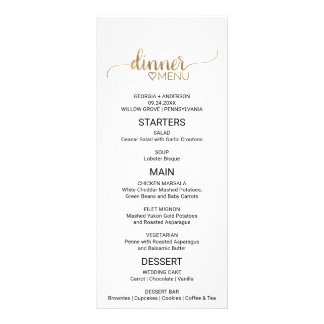 Simple Elegant Gold Calligraphy Wedding Menu Custom Rack Card