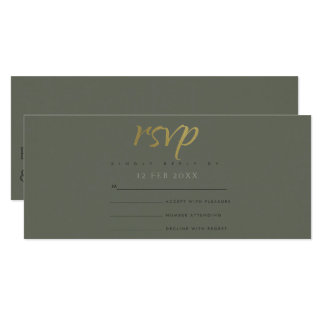 SIMPLE ELEGANT GOLD DARK GREY TYPOGRAPHY RSVP CARD