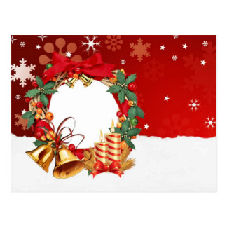 Simple Elegant Gold Decor Wreath Merry Christmas Postcard