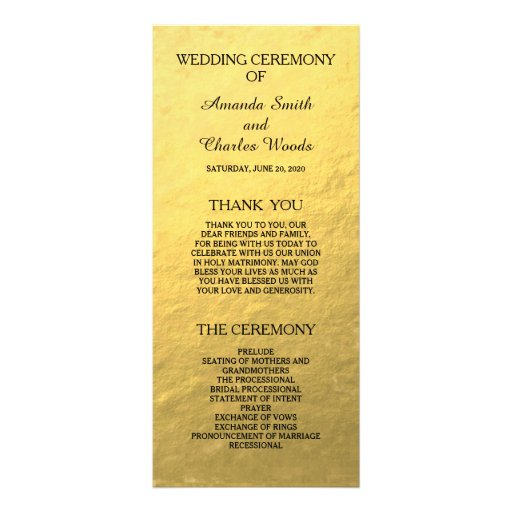 Simple Elegant Gold Faux Foil Wedding Programs Rack Cards