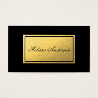 Simple & Elegant Gold Foil Black Business Card